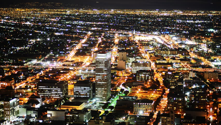 Time Lapse of Downtown Los Angeles Night Cityscape Bird's Eye View