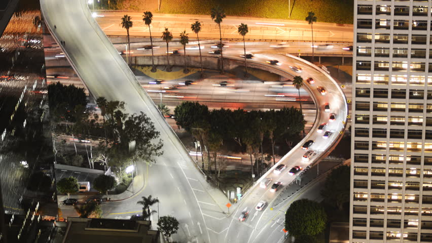 4K Time Lapse of Busy Freeway Ramp in Downtown Los Angeles during Rush Hour