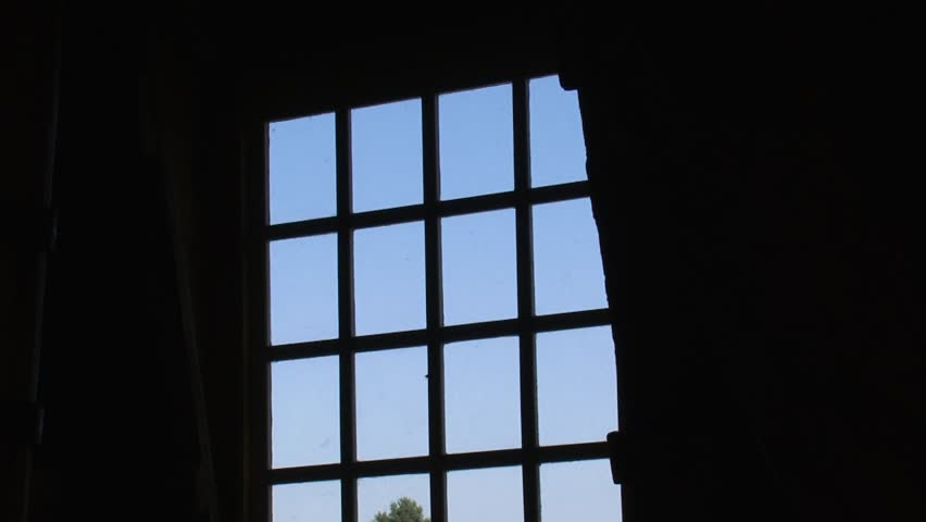 window view from windmill + turning wicks in blue sky - HD stock footage clip