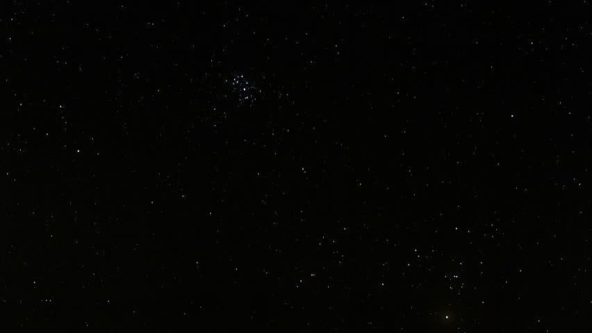 Timelapse of stars moving in night sky, starry sky turning around the Earth