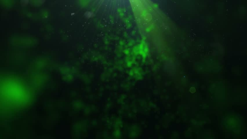 twinkling dust particles colored abstract dark green background