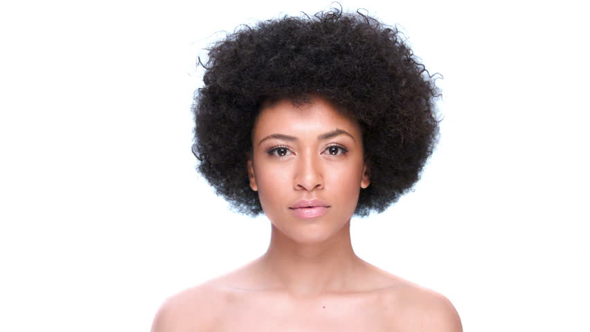 Seductive Nude African American Woman With A Large Afro