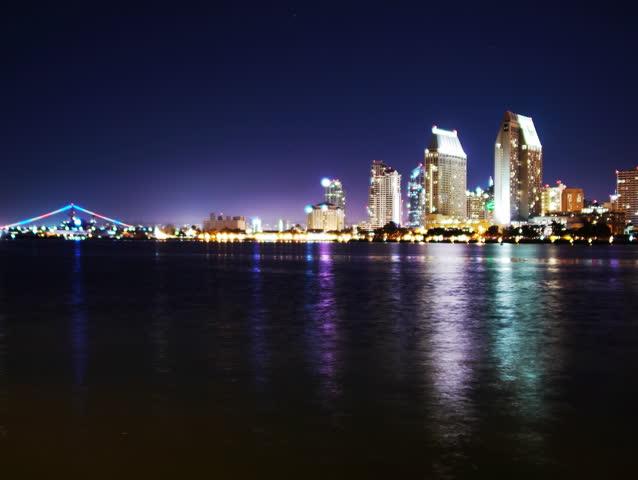 4K Time Lapse of San Diego Skyline Night Cityscape -Full Frame-