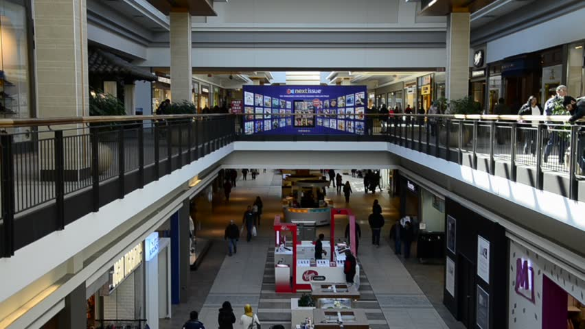 TORONTO,CANADA-MARCH 3, 2014: Fairview Mall is a major shopping centre in Toronto of about 80,000 m² The centre has over 170 stores including The Bay, Sears Canada, offices and a cinema complex.