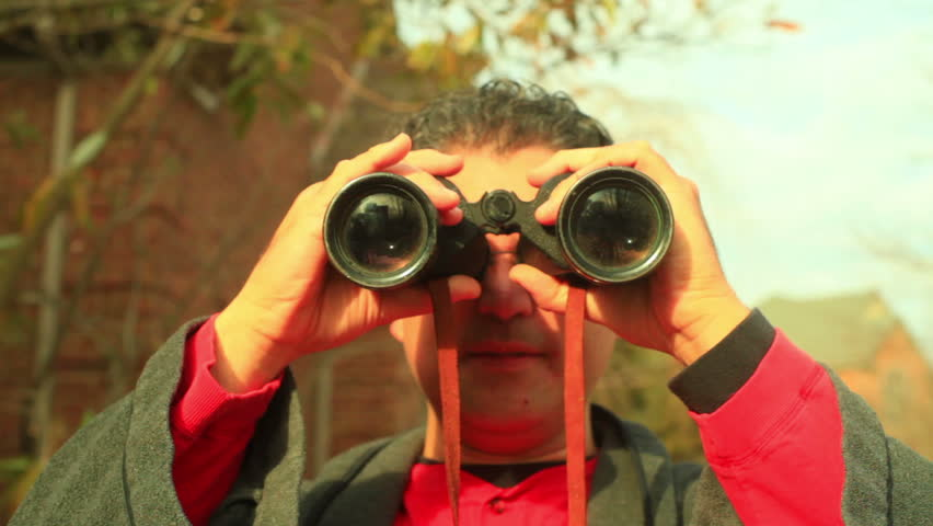 Looking through binoculars - HD stock footage clip