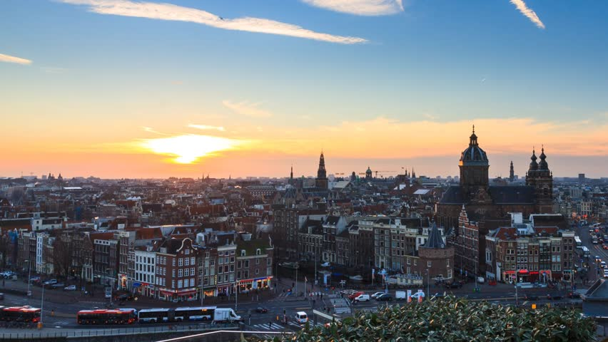 Beautiful Full HD timelapse at sunset of the skyline of Amsterdam, the Netherlands