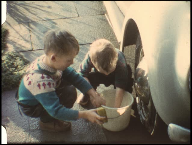 Washing the Car (vintage 8 mm amateur film) - HD stock video clip