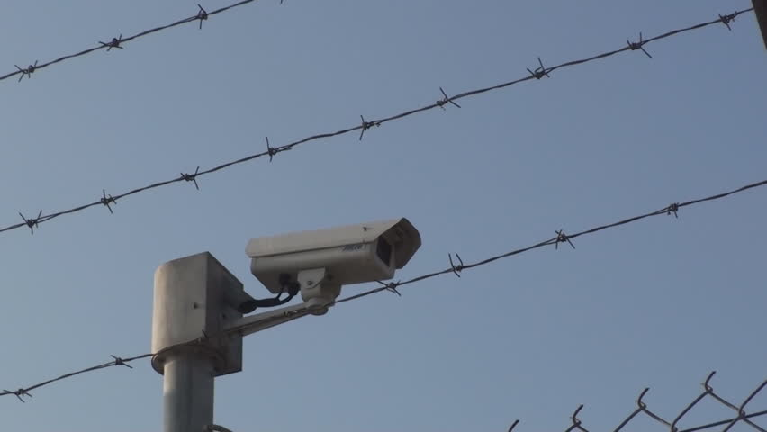 Safety fence with cameras stock footage video