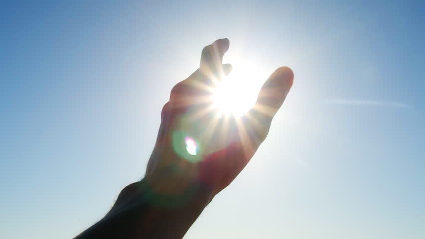 Hand to sun - HD stock footage clip