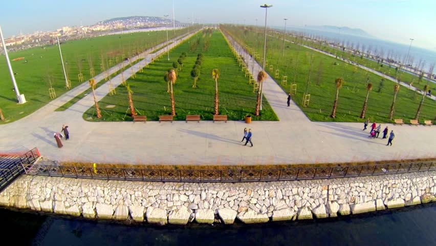 Flying slow motion over new recreational park of Anatolian Side in Istanbul. In this project, 690 thousand square meters allocated for the green field and will plant 20,000 trees.