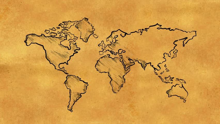 Vintage Globe Line Drawing : Old world map