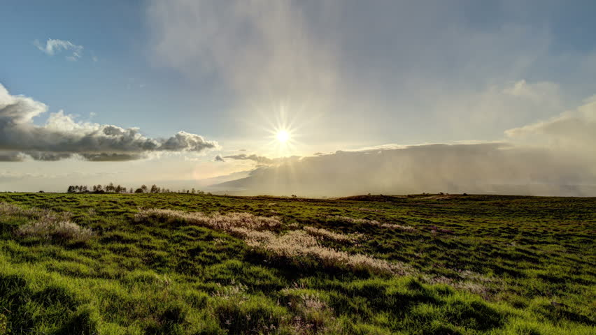 Beautiful Maui, Hawaii, Sunset Time Lapse over Green Grass Hills, HDR, 4k. UHD - 4K stock footage clip