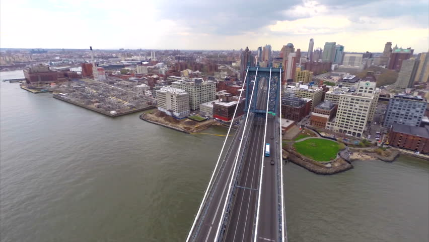 Aerial video of the Manhattan Bridge and New York - HD stock video clip