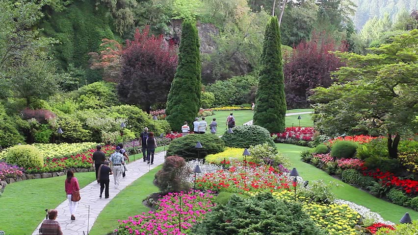 victoria british columbia canada circa may 2012 medium shot people walk at the butchart