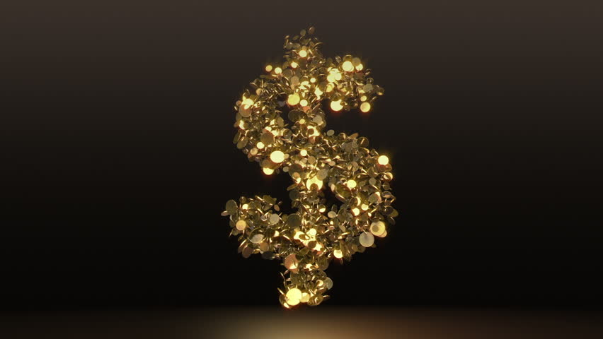 Dollar sign falling + Alpha. Two animations simulate falling coins. Include aplha channel for separate coins.