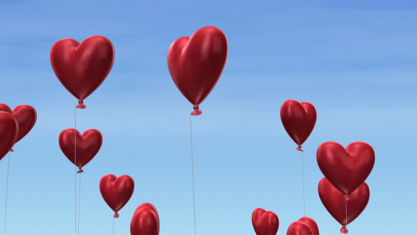 3d animation of heart-shaped balloons flying into the sky - loopable from fram 131 to 260