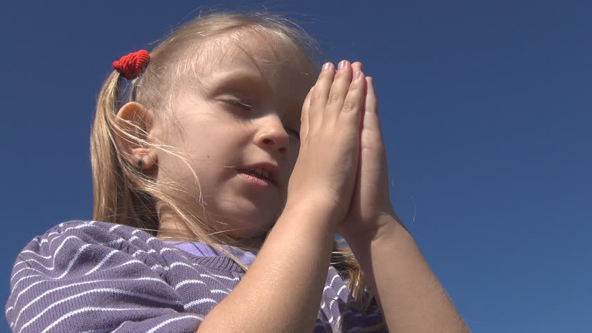 Little Girl Praying , Child with Eyes Closed Saying Prayer, Pensive Kid Portrait