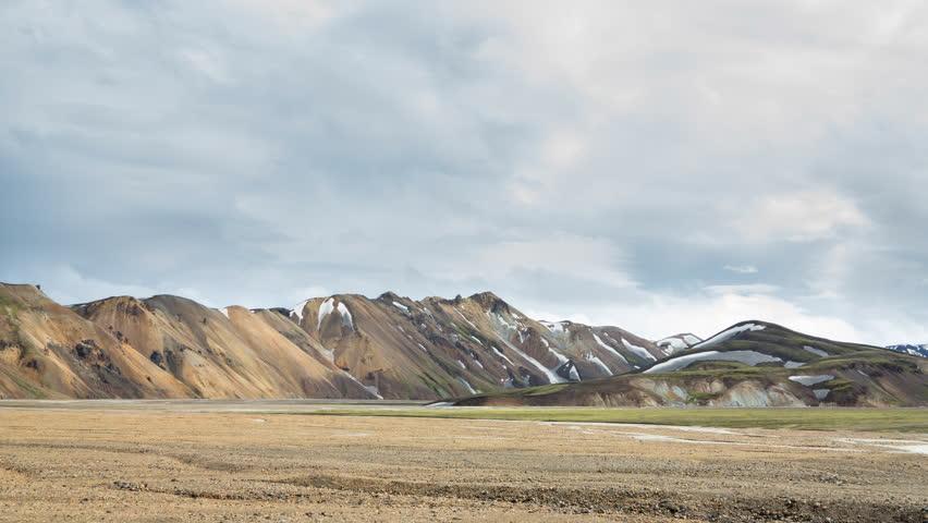 4K Version of Tourists walking under colorful mountain landscape, Landmannalaugar, Iceland