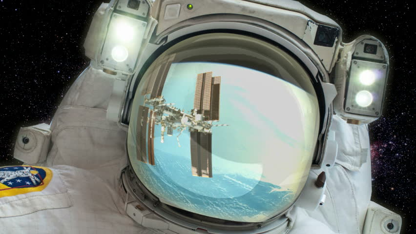Astronaut - Space background -  Space station reflected in visor