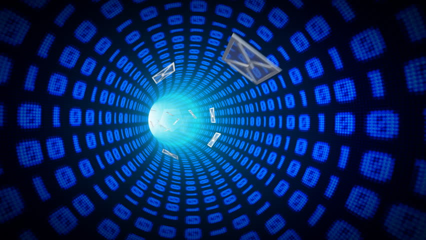 Electronic messages being sent and received over internet tunnel  - HD stock footage clip