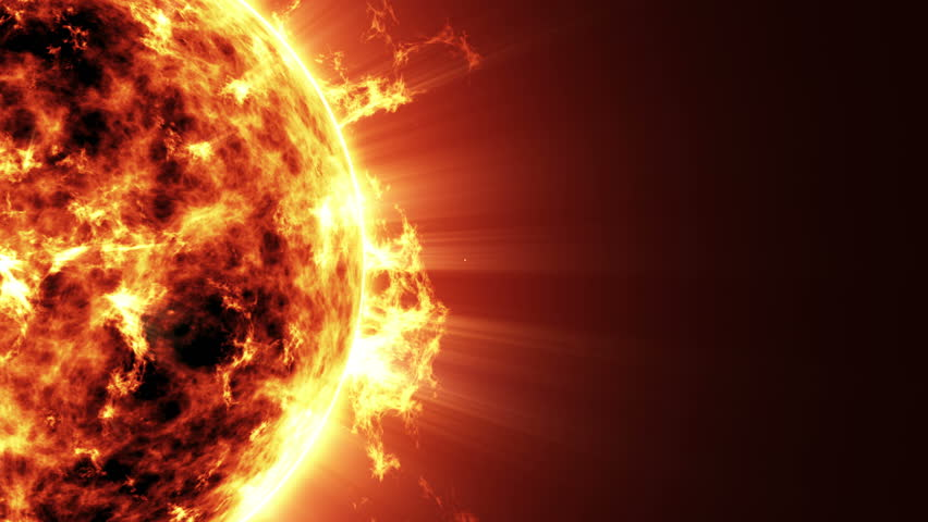 4k Seamless Looping Animation of a Big Sun Star in Space. Full Ultra HD 4096x2304 Video Clip