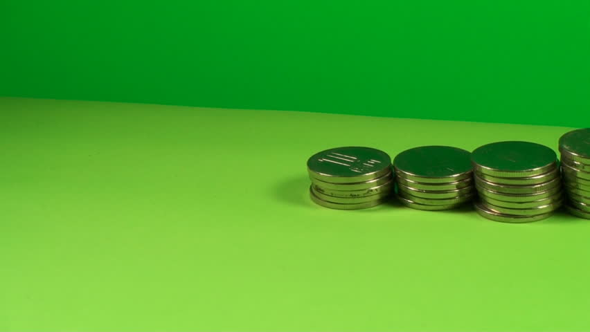 Stack Of Coins On A Green Screen, Chroma, Economy, Currency, Pan Shot