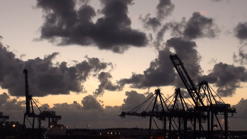 Bahamas - Freeport - Industrial Port - Container Terminal And Dry-dock For Cruise Ship Refurbishing - High Definition - Time Lapse / Bahamas - Freeport - Industrial Port