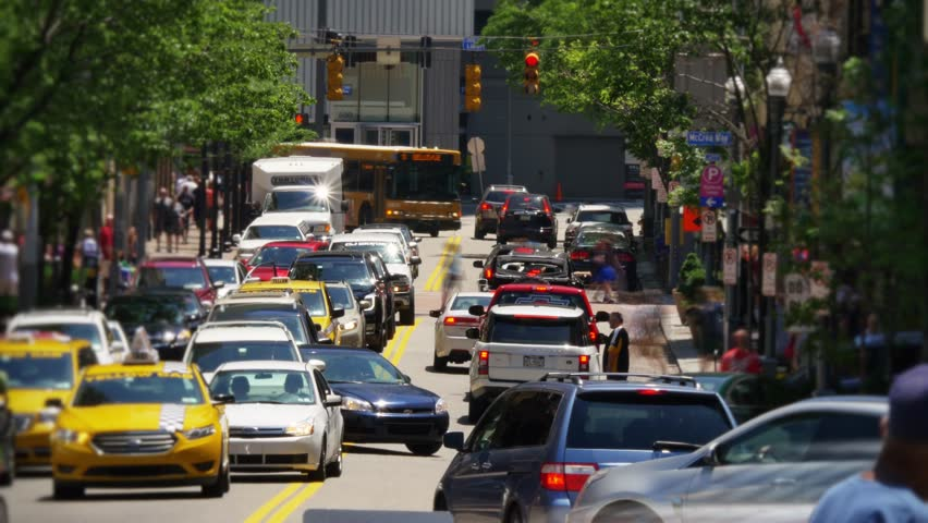 Traffic In Downtown Pittsburgh, PA. Stock Footage Video ...