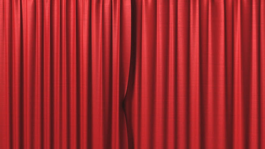 opening red curtain  - HD stock footage clip