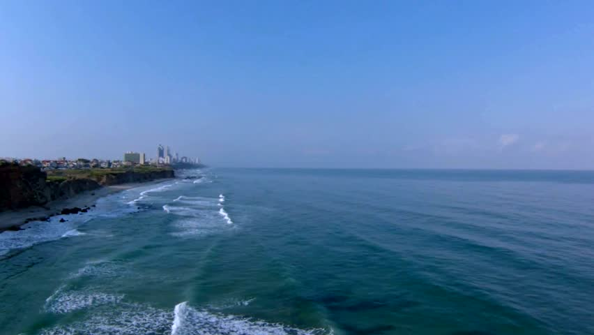 Aerial view of Mediterranean Sea beach, Israel - HD stock footage clip