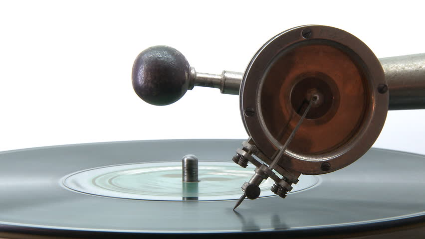 Gramophone playing a disc