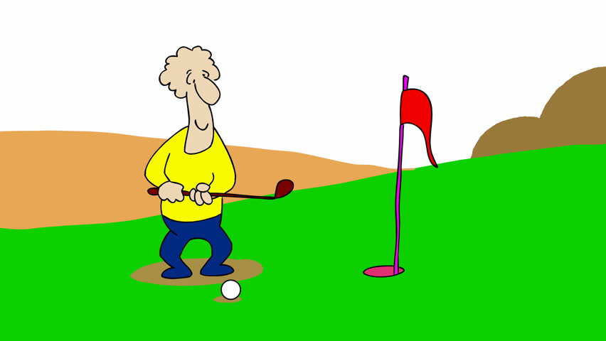 the golfer small gag about playing golf 2d animated cartoon hd 1080  stock footage video 6595865