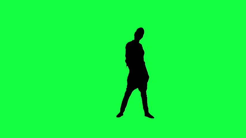 The silhouette of a dancing woman against a green background