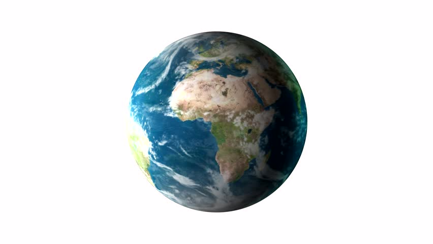 Realistic Earth Rotating On White Background. Texture Map ...