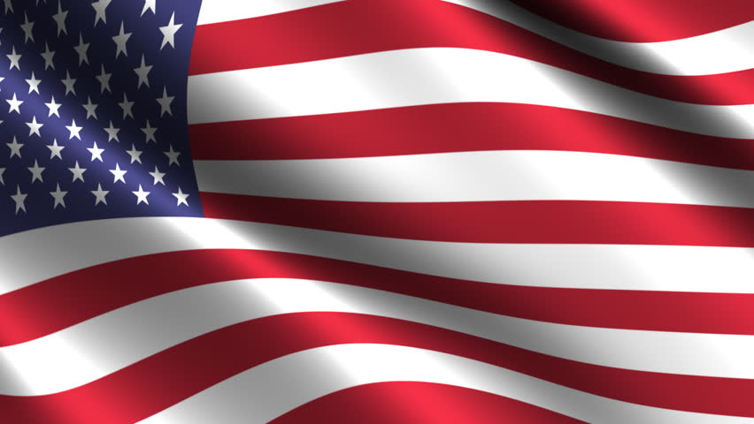 USA Flag waving in the wind. Looping animation