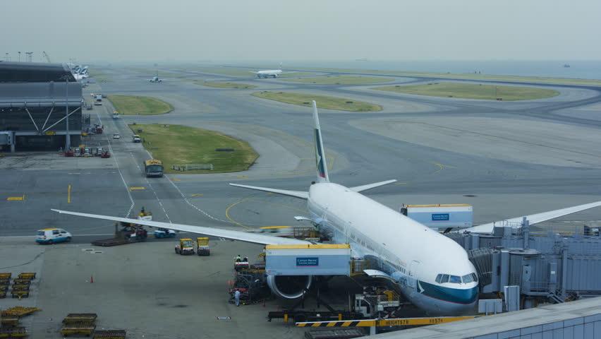 Hong Kong - November 2013: Time lapse view plane movements Hong Kong International Airport, Chek Lap Kok Island, China, Asia,