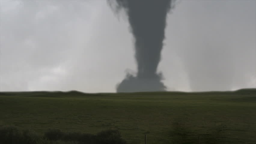 Massive Tornado and Lightning:  A massive tornado (CGI) spins as lightning strikes the ground.  A very detailed and realistic animation created in MAYA.
