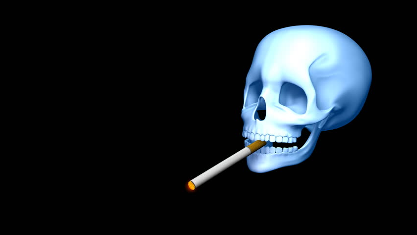 Deadly Smoking - Smoking 02 (HD) - 3D animation with smoking skull, cigarette and smoke. Alpha included. - HD stock footage clip