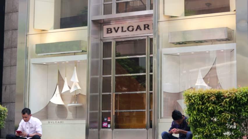 KUALA LUMPUR, MALAYSIA - CIRCA JUNE 2014: Bulgari store. Bulgari is an Italian jewelry and luxury goods company. The trademark is usually written BVLGARI.