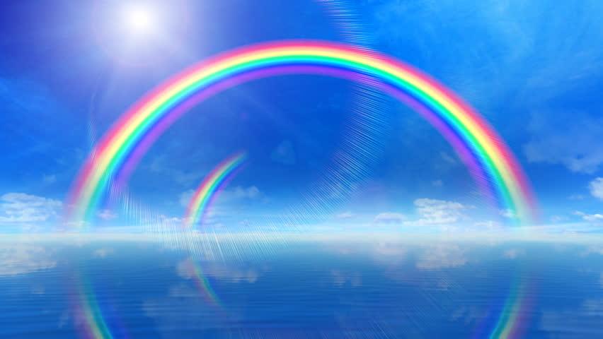 Rainbow over ocean.