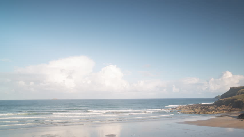4k Beautiful time lapse in  lovely early morning light of polzeath beach in cornwall, england