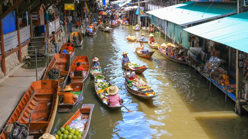 2014(time-lapse View) Floating Boat Market Popular Tourist Attraction ...