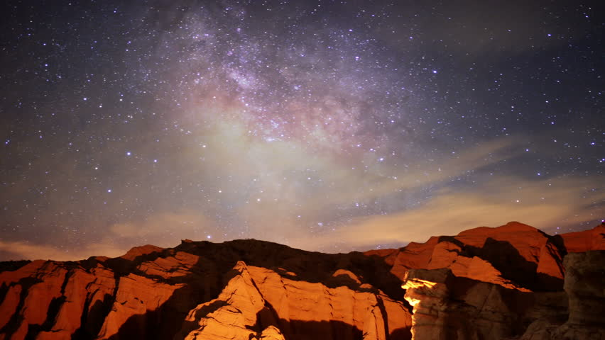 Milky Way Galaxy 32 R Timelapse Mojave Desert Red Rock Canyon 2014