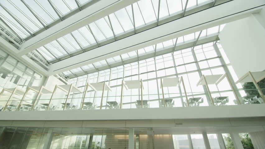 Interior View Of Modern Office Building With Glass