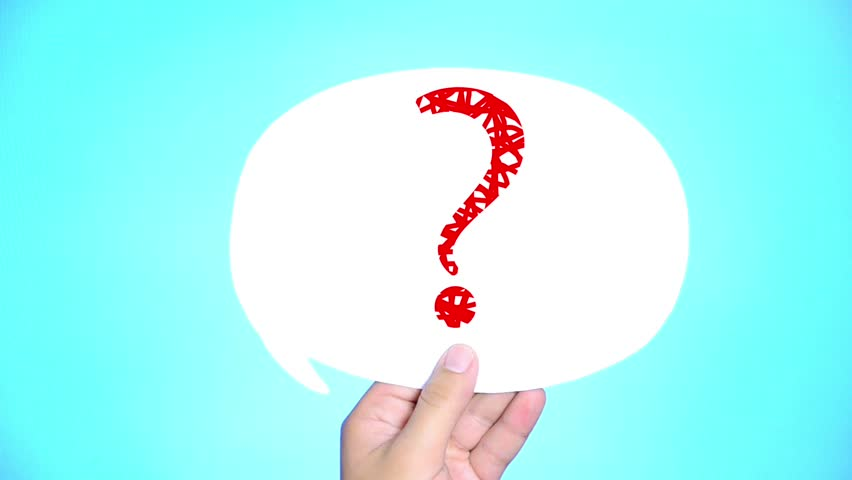 man with question mark in speech bubble on blue background