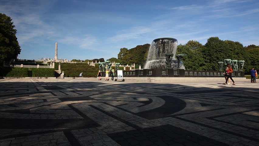 VIEW OF THE MONOLITH VIGELAND PARK OSLO NORWAY - 15 SEPTEMBER 2014: Low angle slider movement of the fountain and monolith