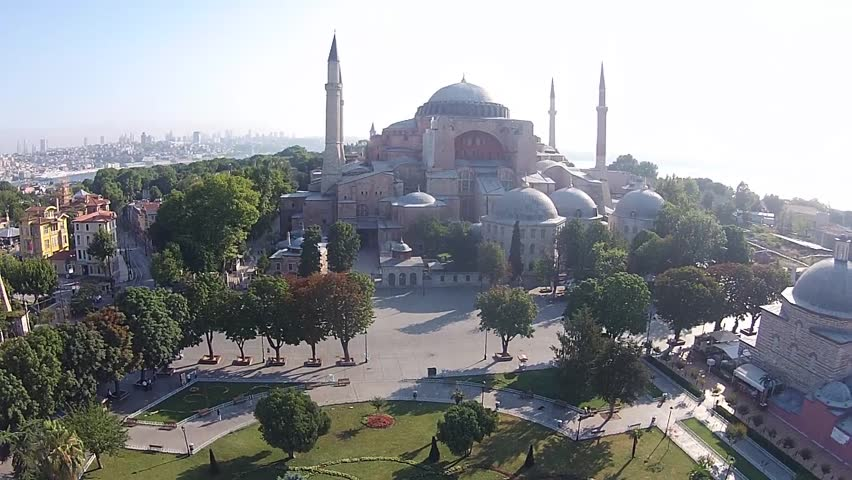 aerial istanbul turkey saint sophia hagia sophia ayasofya cami church mosque