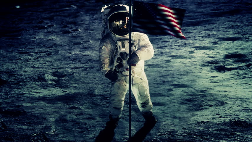 Astronaut With Flag On The Surface Of The Moon Stock ...
