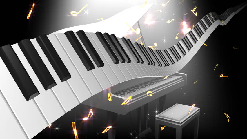 Music notes score and keyboard.