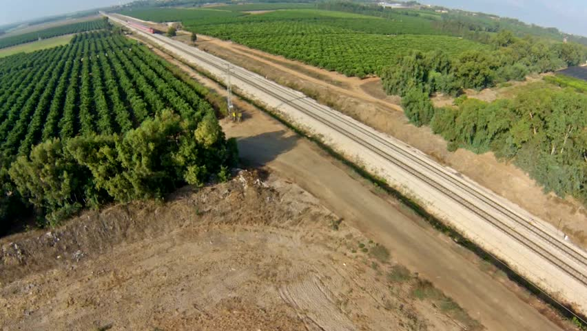 aerial view train crossing the countryside. Israel